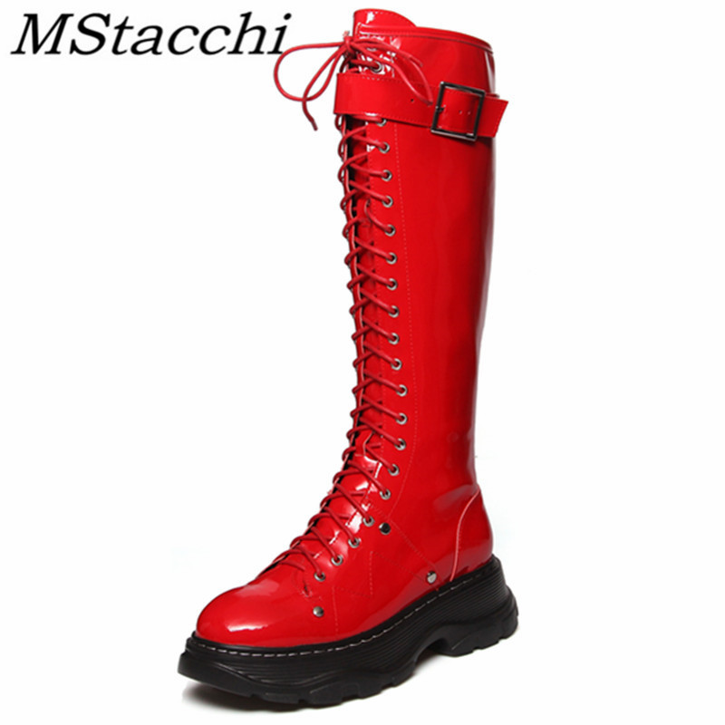 MStacchi Autumn Winter New Style Boots Women Fashion Lace Up Round Toe High Flat Boots Red Sexy Thick Bottom Rivet Women Boots