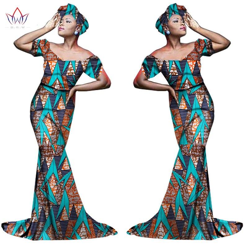 Африканский хлопчатобумажный материал Платья Для Женщин Дашики традиционная Анкара Мода Африка одежда с коротким рукавом Анкара платья WY963 - Цвет: 12