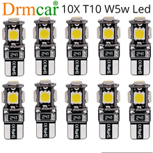 10X T10 Canbus White Blue Red 5smd Car License Plate Light W5w 194 168 Error Bulbs Wedge Led Parking Bulb Trunk Lamp Turn Signal