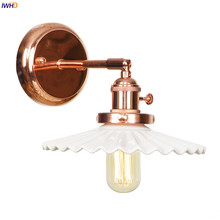 IWHD Wandlamp White Ceramic LED Wall Sconce Switch Rose Gold Color Bedroom Stair Mirror Light Nordic Modern Wall Lamp Luminaire rushed luminaire double head wood wall lights bedroom lamps hallway wandlamp bed light nordic home lighting sconce lamp iy121786