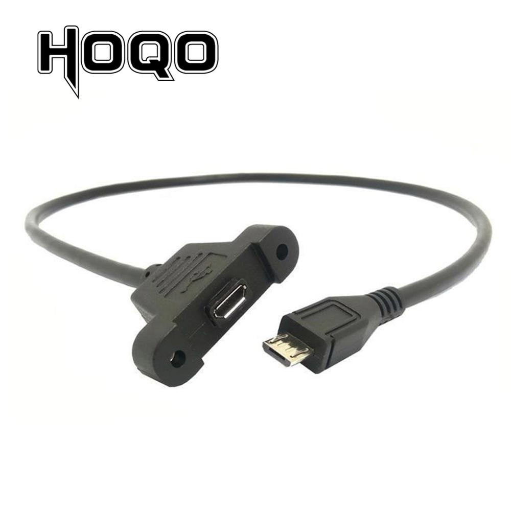 Micro Usb Panel Mount Connector Socket Micro-USB 5pin. Male To Female Extension Cord Extend Cable 30cm 50cm With Screws Hole