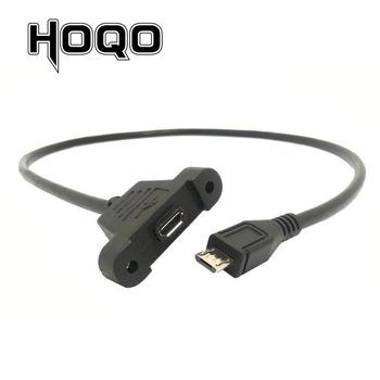 cysm mini usb 5pin male panel mount type to female extension adapter cable with screws 50cm Micro Usb Panel Mount Connector Socket Micro-USB 5pin. Male to Female Extension Cord Extend Cable 30cm 50cm with Screws Hole