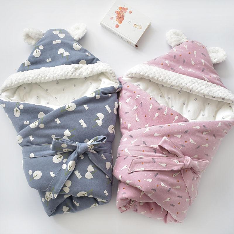 Newborns Pure Cotton Envelope Bag Cartoon Blanket Kids Soft Keep Warm Swaddling Wrap For Baby Girl Boy Sleeping 80x80cm