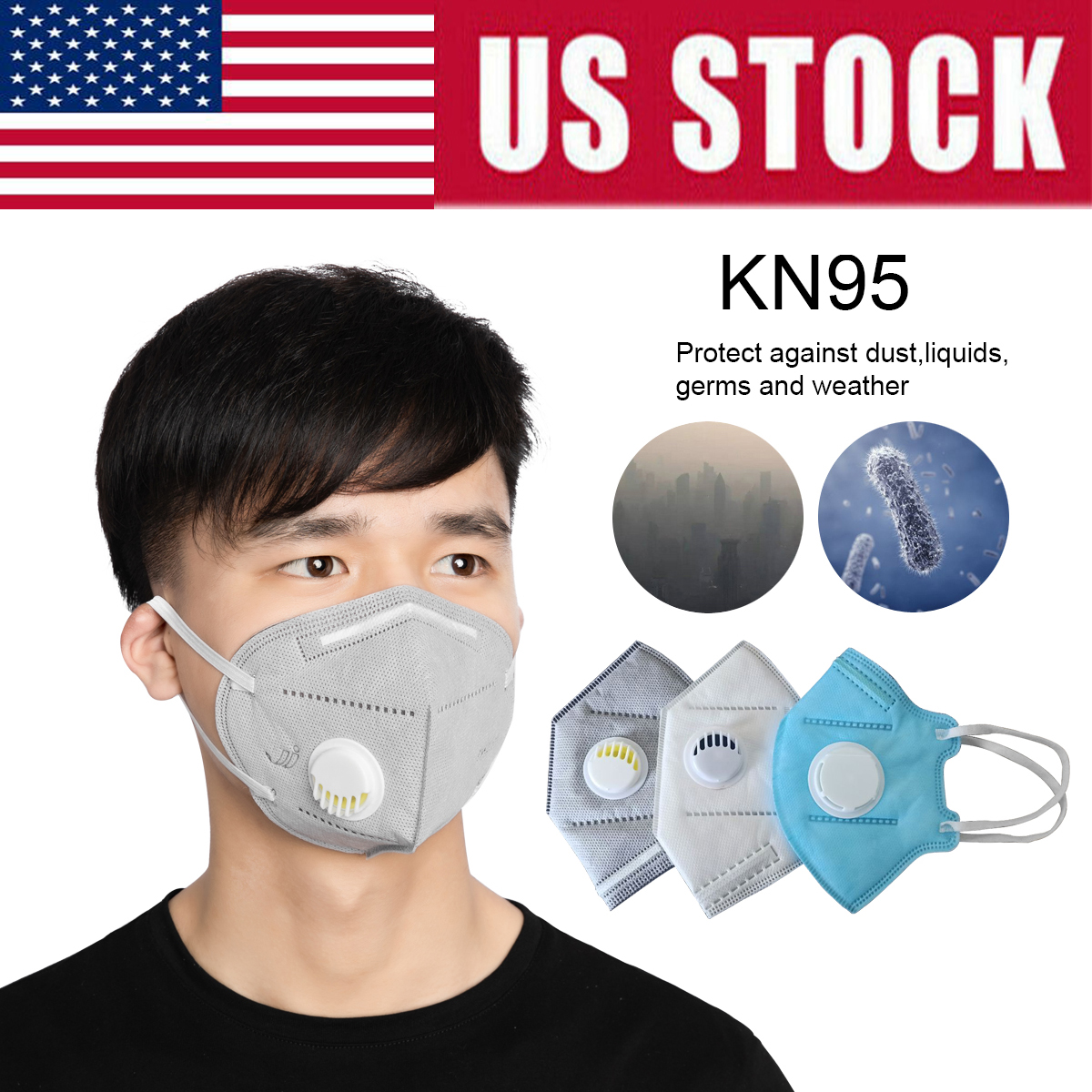 10pcs Mask KN95 PM2.5 Anti Flu Formaldehyde Bacteria Face Mask Dust-proof Mouth Masks Stock US/CN