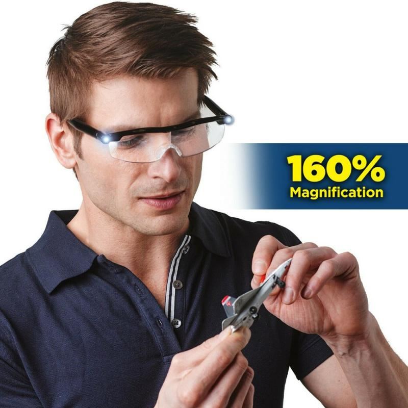 1.6x Magnification Mighty Sight LED Light Glasses Suitable For Reading Presbyopia Magnifier LED Luminous Eyewear Glasses