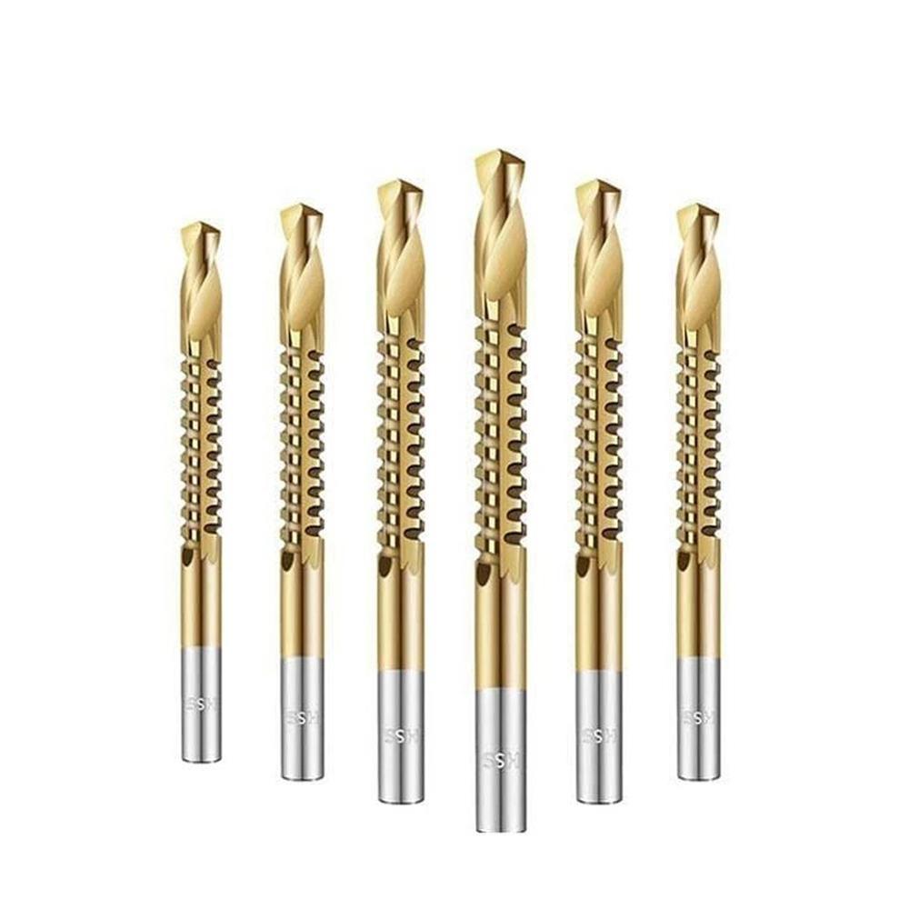 Deko 6pcs Power Drill & Saw Set Hss Titanium Steel Coated Wood Twist Drill 3mm 4mm 5mm 6mm 6.5mm 8mm