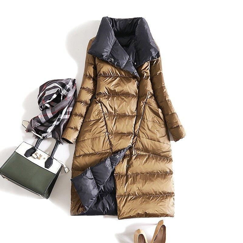Ente Unten Jacke Frauen Winter 2019 Oberbekleidung Mäntel Weibliche Lange Casual Licht ultra dünne Warme Unten puffer jacke Parka