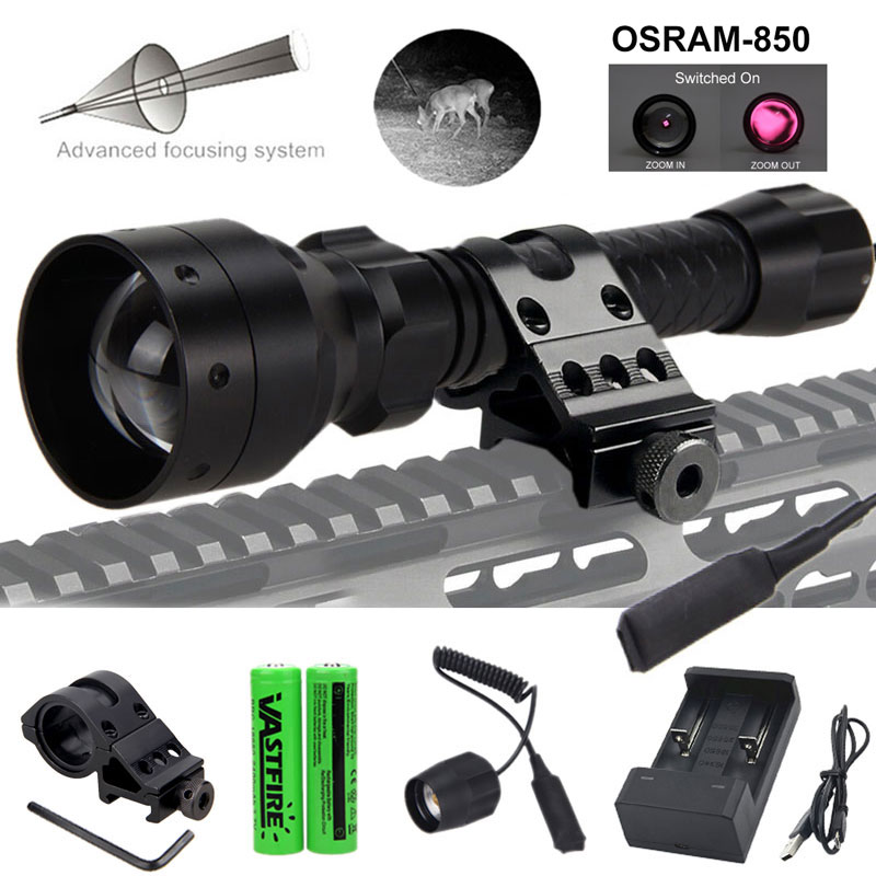 T50 Zoomable Infrared Flashlight Hunting Torch 850nm IR Night Vision Illuminator+Rifle Scope Mount+Switch+2*18650+USB Charger