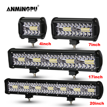 ANMINGPU 4-20inch Combo LED Light Bar Off Road 12V 24V Work for Car Jeep Truck Suv 4x4 Tractor Boat Atv Headlight - discount item  40% OFF Car Lights