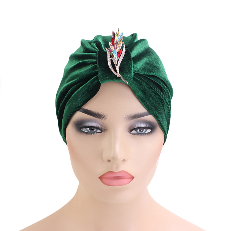 Luxury velvet jewelry brooch turban headwrap muslim cap Bandanas Headwear Chemo Hijab Super Stretchy Ladies Turbante Hat