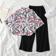 Conjunto de dos piezas de ropa de dormir de estilo harajuku para mujer, traje para casa con cuello vuelto, tops dormir y pantalones