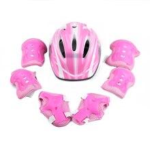 7pcs Child Roller Helmet Skating Bike-Helmet Knee Wrist Guard Elbow Pad Pieces Children Roller Skating Head Skateboard Kneee Pad