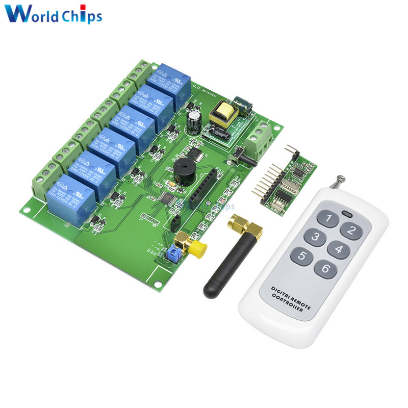 433MHZ RF Remote Module 6CH 6 Channel Relay Module RF Relay Board 110-240V  With Remote Control Switch