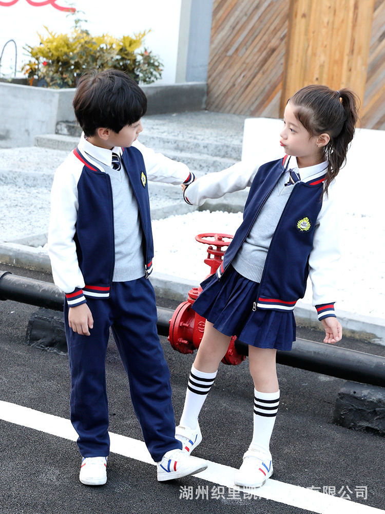 Kindergarten Suit Spring And Autumn Set Young STUDENT'S England School Uniform Long-sleeve Sportswear Spring Children Class Coll