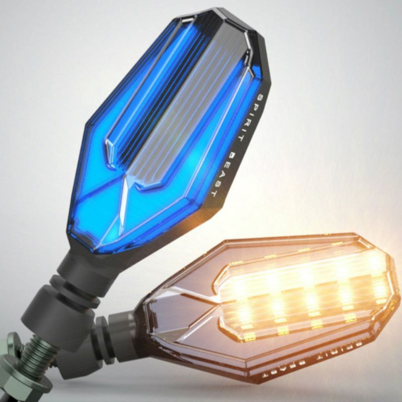 2 X New Motorcycle 18 LED Turn Signal Light High quality Led Indicator Light Dual Color Blue and Yellow Blinking Light|  - title=