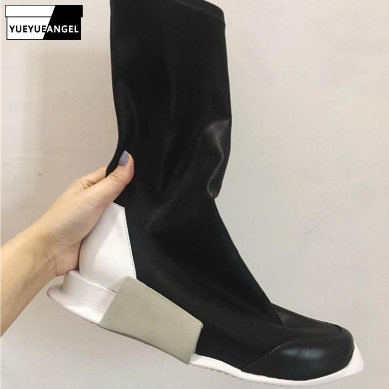 Rua botas brancas mulheres estilo punk plataforma de couro genuíno elástico meia tornozelo botas amantes altura crescente alto topo tênis