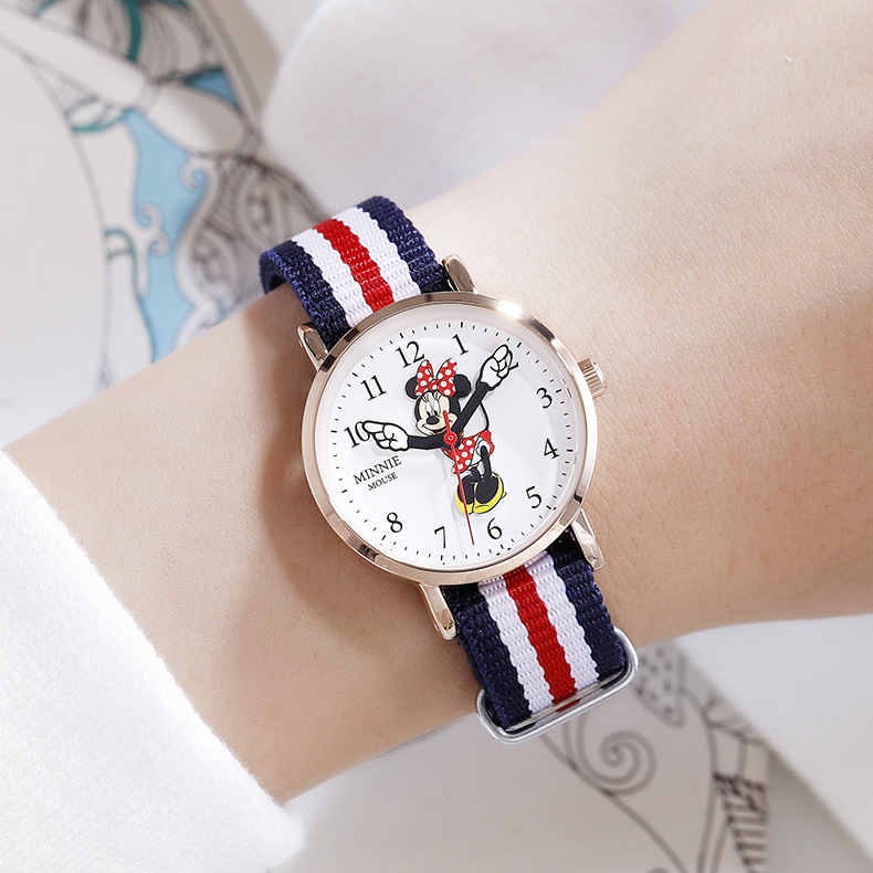 Дисней дети% 27 часы Минни милая кварцевые часы начальная и средняя школа ученики часы Микки мультфильм часы