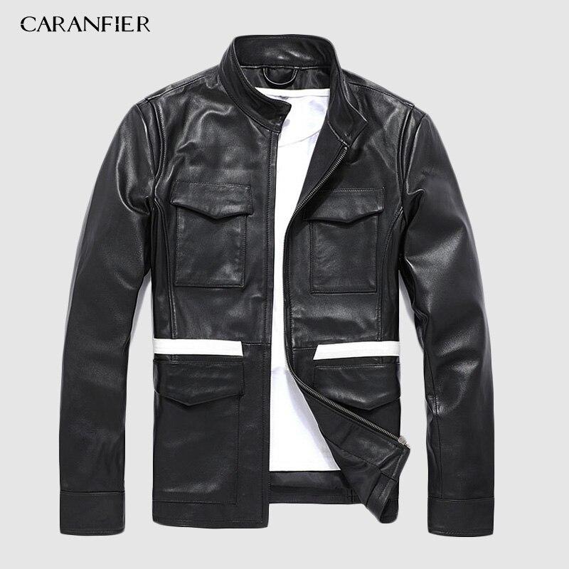 CARANFIER Sheepskin Leather Jacket Mens Brand Indian Motorcycle Multifunction Jacket Men Liner Detachable Real Leather Jacket
