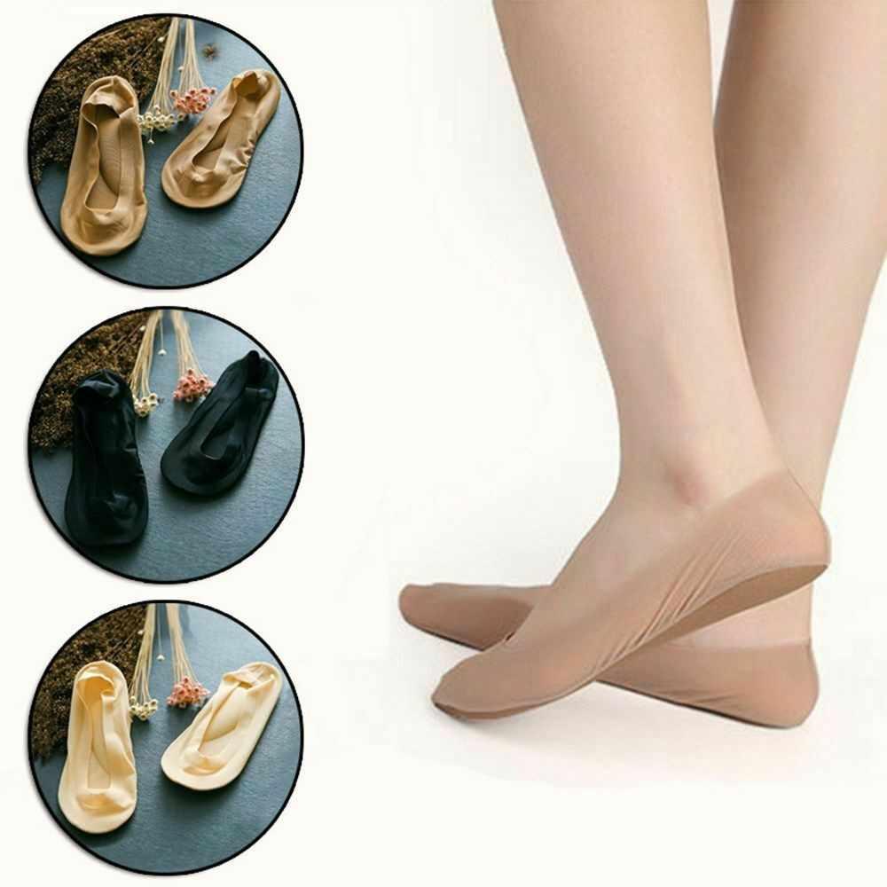 女性固体靴下スリッパ 3D アーチ足マッサージヘルスケア女性の夏の靴下アイスシルク靴下浅い口