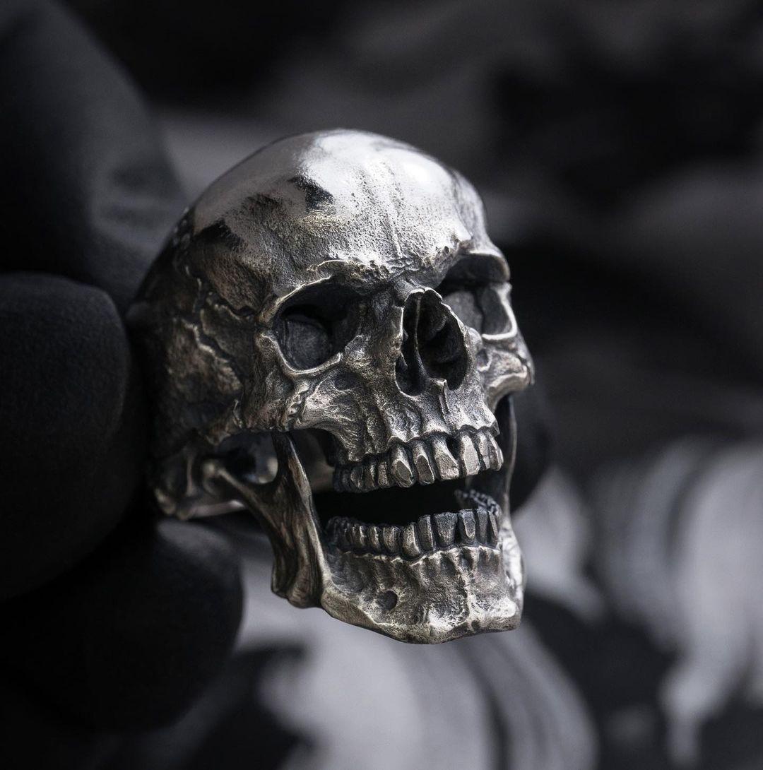 EYHIMD gothique hommes noir crâne anneau en acier inoxydable 316L bague moto bande Biker fête Bijoux de mode Bijoux pour hommes