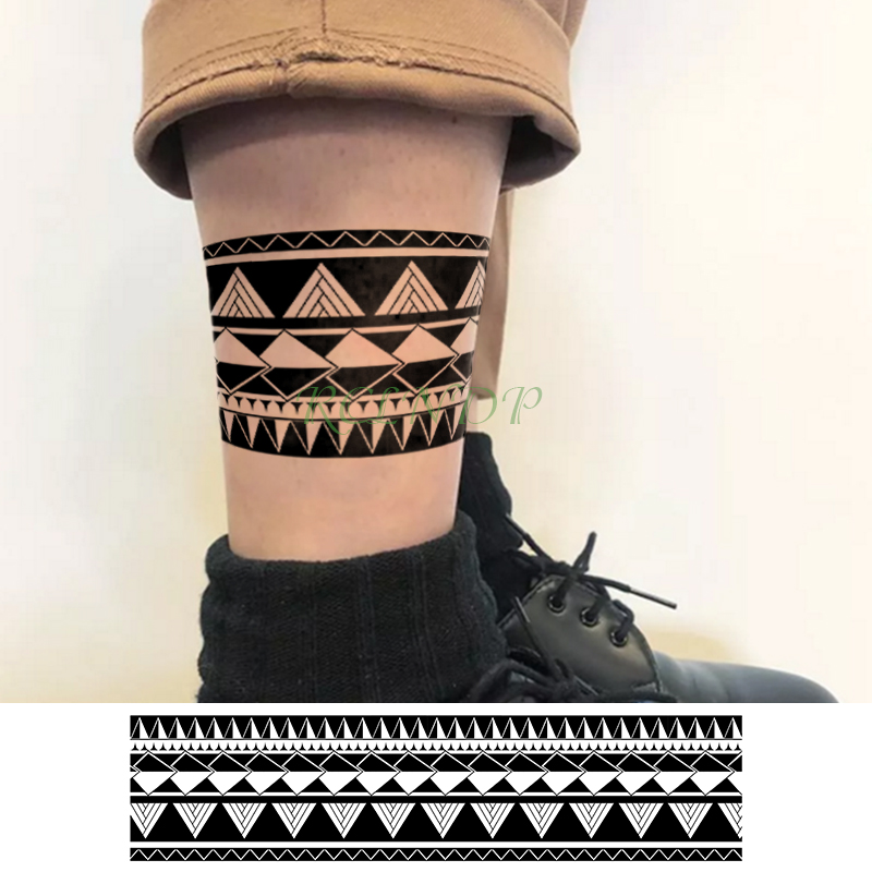 Waterproof Temporary Tattoo Sticker Triangle Line Band Fake Tatto Personality Flash Tatoo Waist Arm Foot Tato For Girl Women Men