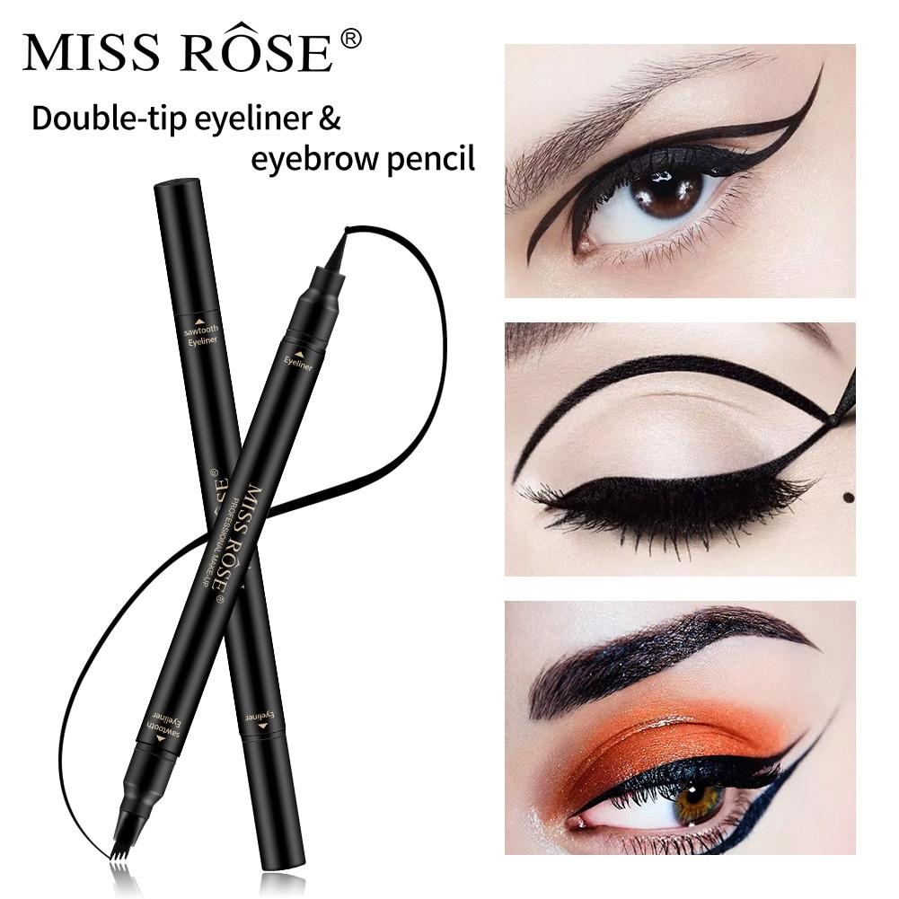 Four Quarter Eyebrow Pencil Double Eyeliner Pen Waterproof Durable Eyeliner Pencil Cross Border Black Eyeliner Pen