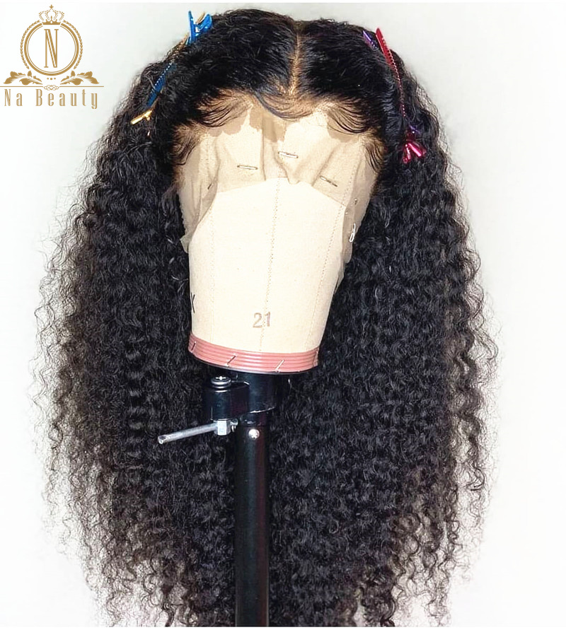 180% High Density Afro Kinky Curly Lace Front Wigs 10-24'' Pre Plucked With Baby Hair 13x6 Lace Human Remy Hair Black For Women