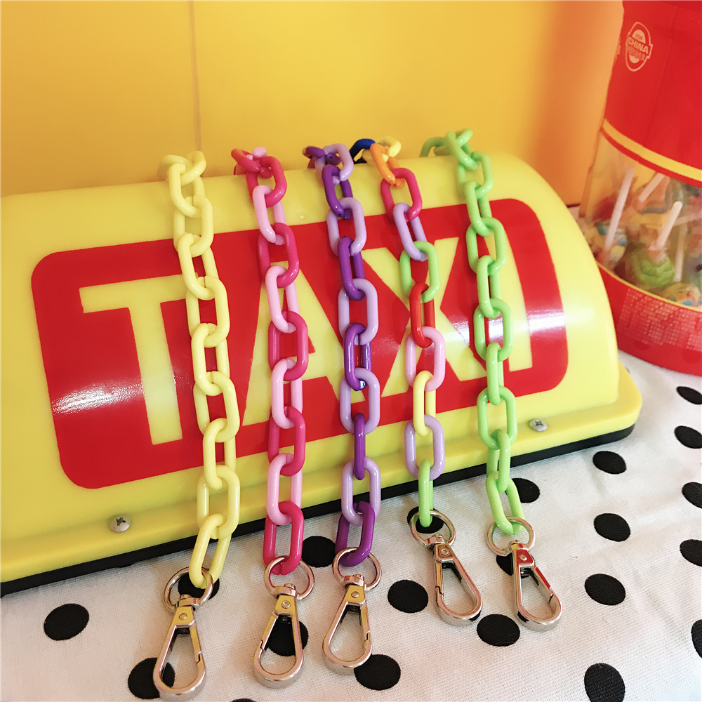 Colored Belt Bags Strap Accessories For Women Rainbow Shoulder Pant Jean Key Chain Hanger Handbag Straps Decorative Chain Bag