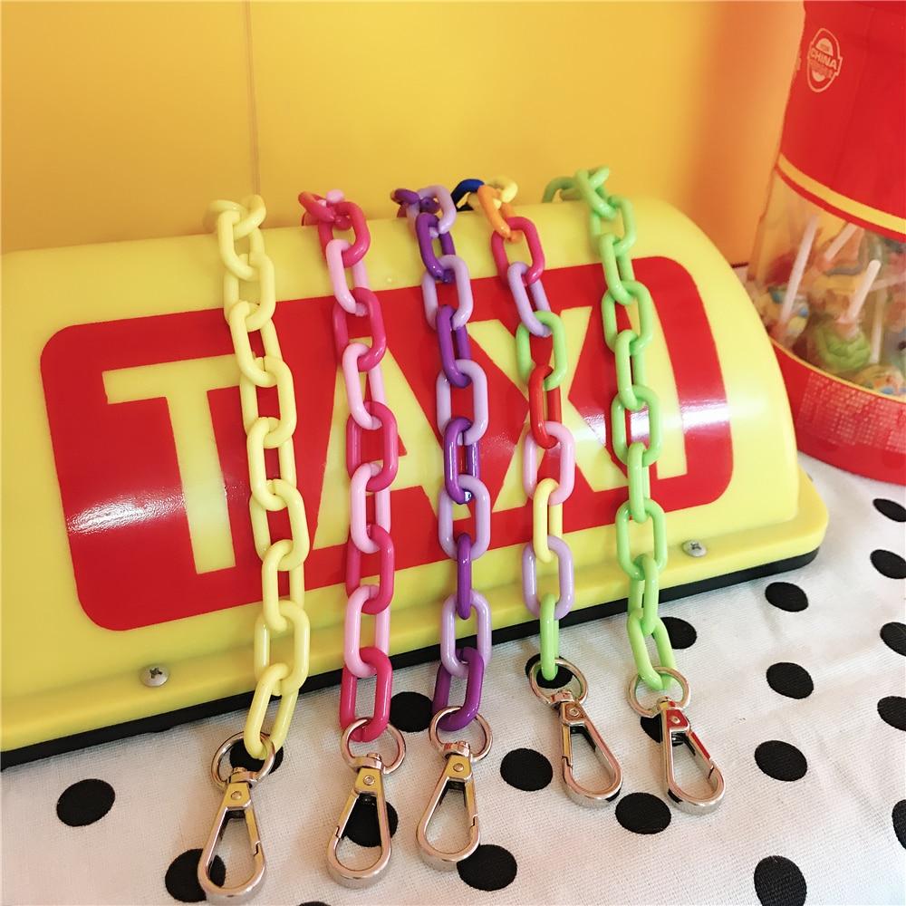 Colored Belt Bags Strap Accessories For Women Rainbow Shoulder Pant Jean Key Chain Hanger Handbag Straps Decorative Chain Bag