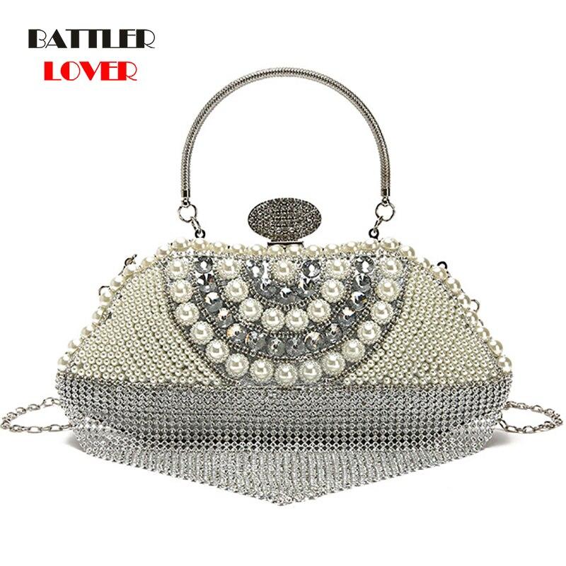Evening Clutch Bags Diamond-Studded Tassel Evening Bag With Chain Shoulder Bag Women
