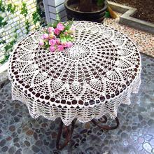 Mantel redondo hecho a mano de ganchillo, mantel de encaje para mesa, Mantel Individual de 70/80/90CM, mantel Vintage desgastado DIY, mantel de ganchillo de algodón