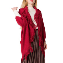 New Tassel Cape Women Winter Knitted Loose Cloak Black Boho Poncho Capes Shawl Sweater Coat Cape ponchos geometrical pattern cape loose sweater with taeesl details