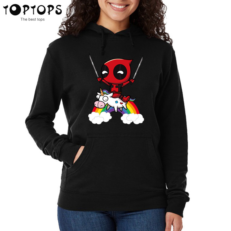 Women Deadpool Sweatshirts Unisex Pink Hoodies Funny Coat Girls Female Harajuku Clothes