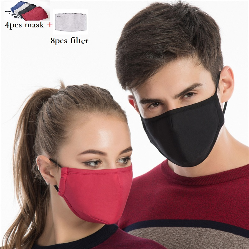 4pcs/lot Washable Cotton Mask Mouth Face Mask Anti PM2.5 Dust Mouth Mask 8pcs Activated Carbon Filter Mask Fabric