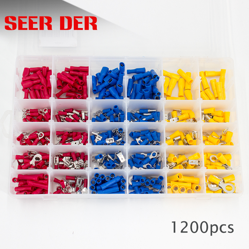 1200pcs Insulated Ring Wire Connectors Assorted Electrical Crimp Terminals Kits