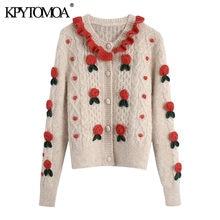 KPYTOMOA kobiety 2021 moda z kwiatowymi detalami przycięte sweter dziergany sweter w stylu Vintage z długim rękawem damska odzież wierzchnia eleganckie koszule