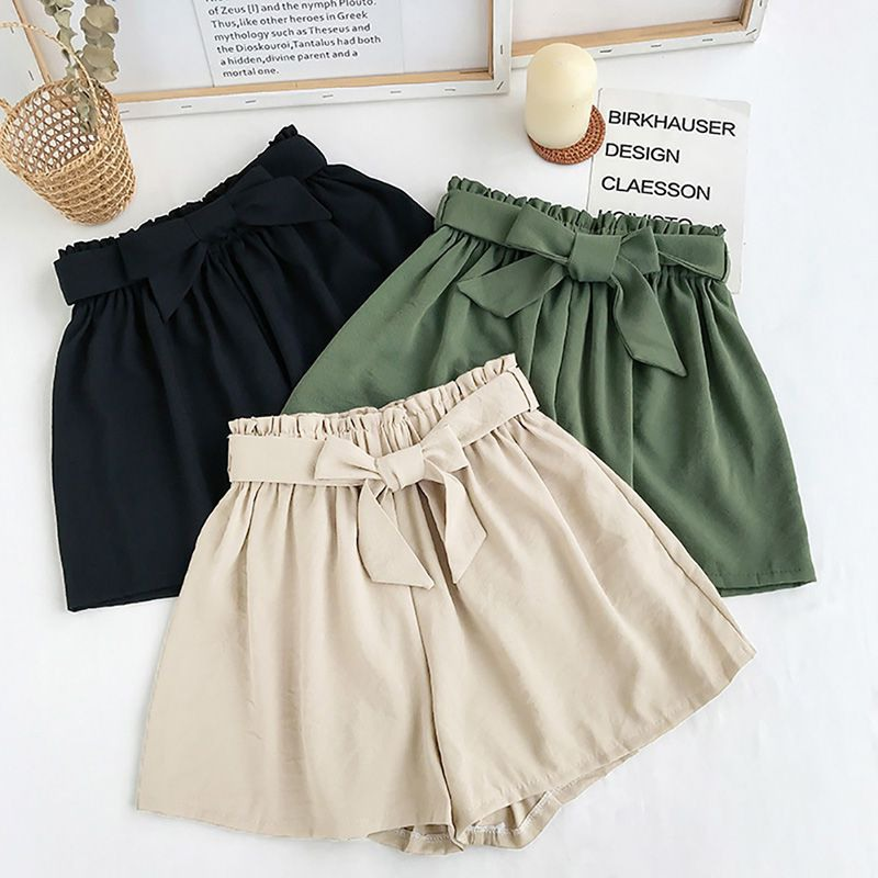 Hot  Fashion Bow Beach High Waist Shorts Summer Casual Shorts Lady Women Solid Color Plus Size Loose Wide Leg Short Pants NS