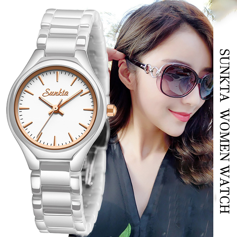 2019 Hot Lover Luxury Watches Quartz Wristwatch For Women Watch Hodinky White Gold Ceramic Strap Saat Reloj Mujer Zegarek Damski