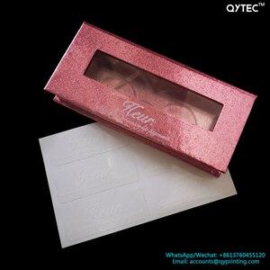 Image 3 - 100pcs Stampa Personalizzata private Label ciglia ombretto tavolozza rossetto lip gloss trucco Visone Del Tubo Della Cassa Della Scatola di Imballaggio Adesivo