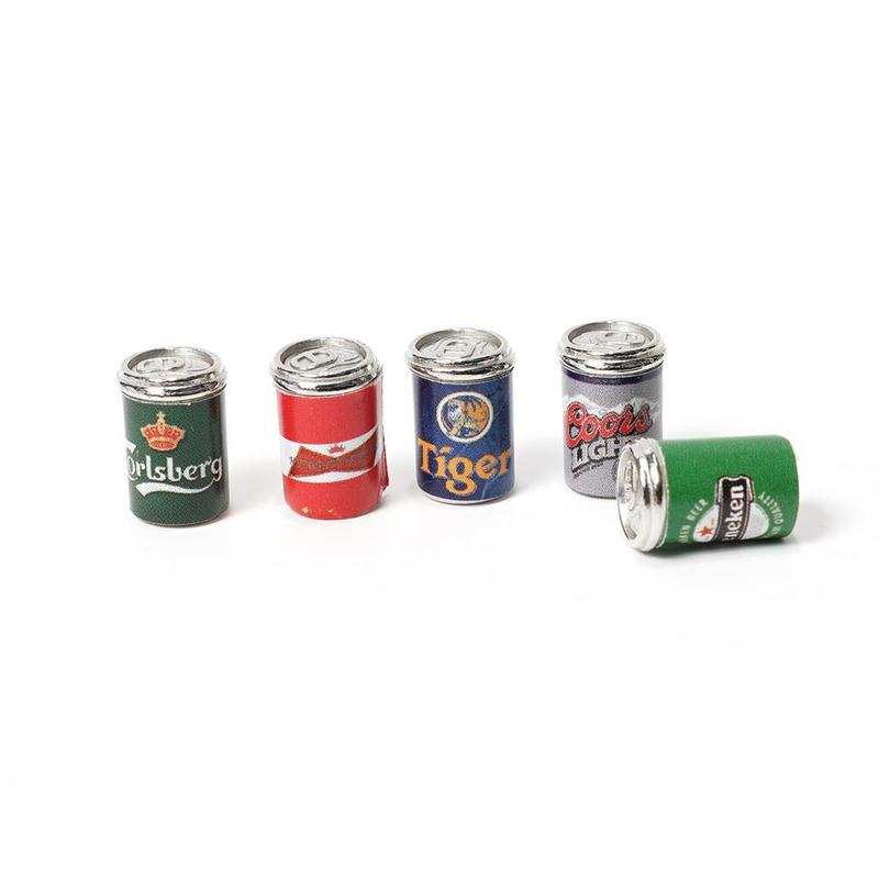 5 Bottles Of Simulated Beer Can Mini Food Play 5 Bottles Beer Can Scan Doll Toy Furniture Accessories