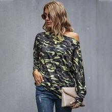 Женские футболки с открытыми плечами модная камуфляжная вязаная