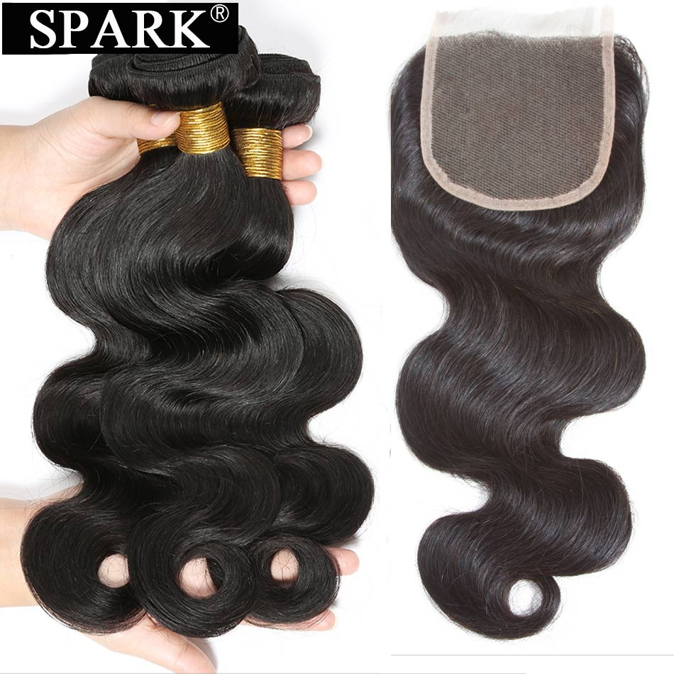 Spark Ombre Brazilian Hair Weave 3 Bundles With Closure Body Wave Remy Human Hair Extensions With Lace Closure Natural Color