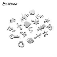Semitree, 50 шт., нержавеющая сталь, маленький крест, подвеска в виде сердца, сделай сам, ожерелье, фурнитура, браслет, ювелирное изделие, конечный хвост, цепи