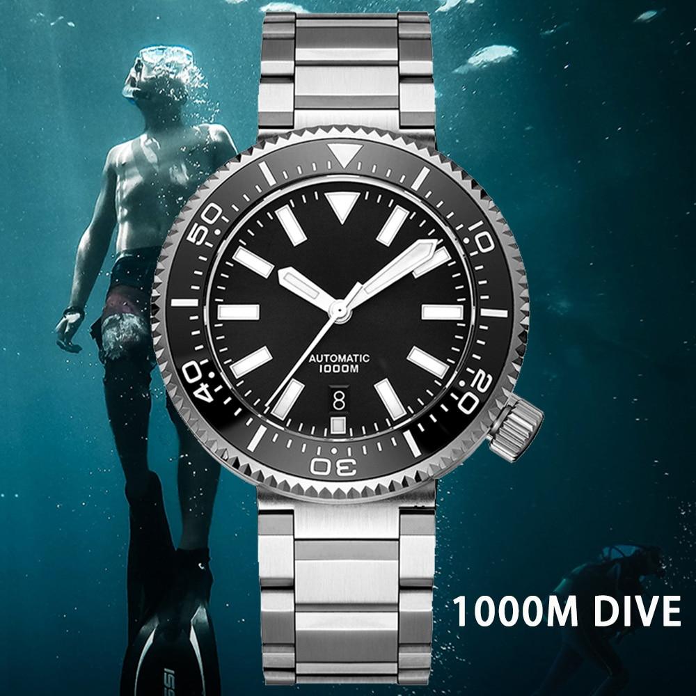 ADDIES Automatic Mechanical Diver Watches Men 1000M Waterproof Stainless Steel Sport Watch Sapphire WristWatch Relogio Masculino