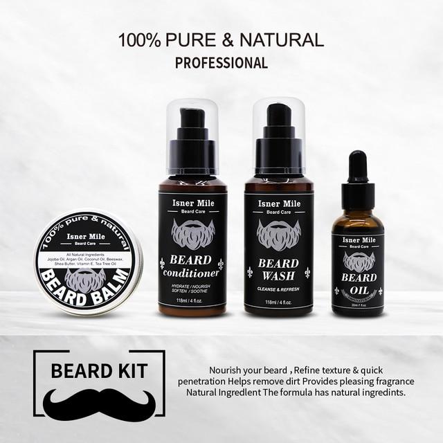4PCS Beard Oil Beard Balm Men Beard Wash and Conditioner Set Natural Beard Growth Essential Oil Kit Male Beard Care Cleaning Kit 5