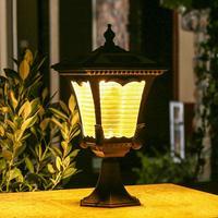 LED Solar Powered Pillar Light Retro Style 2 Colors Lantern Glass Yard Garden Gate Post Lamp