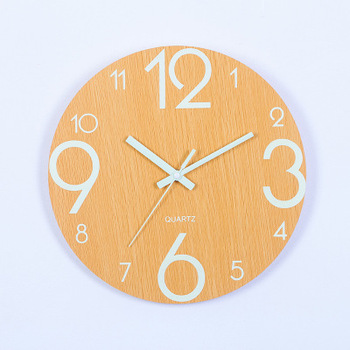 Wooden Wall Clock Luminous Number Hanging Clocks Quiet Dark Glowing Wall Clocks Modern Watches Decoration For Living Room 6