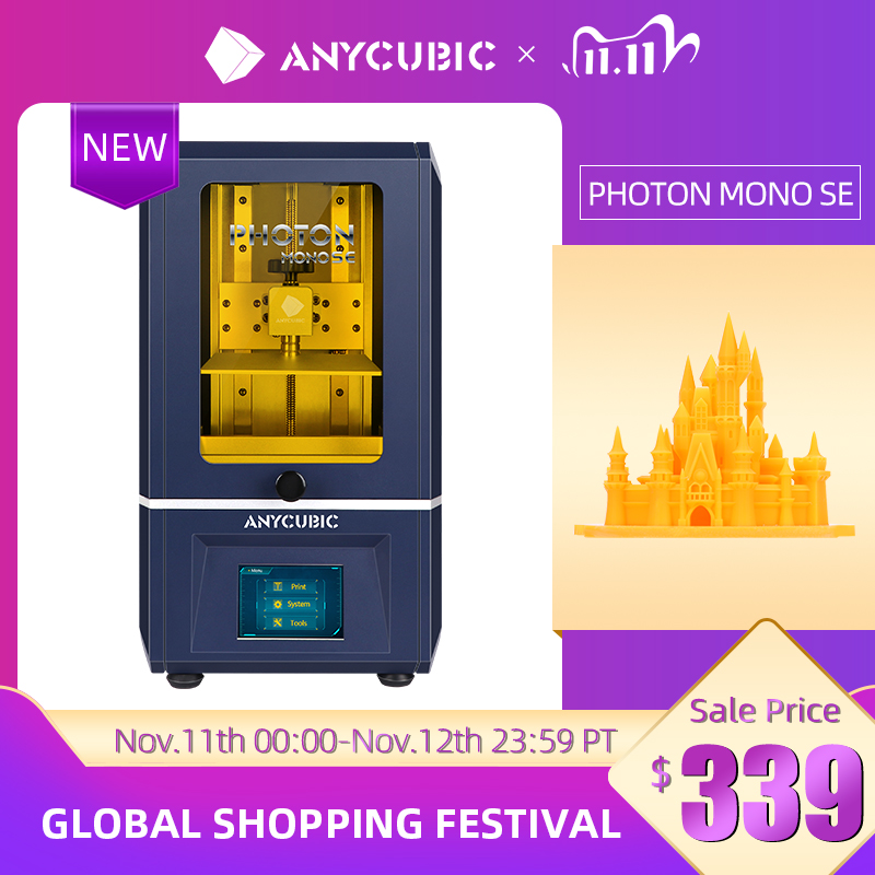 ANYCUBIC 3D Printer Photon Mono SE 405nm UV Resin Printers with 6 inch 6 2K Monochrome LCD, APP Remo