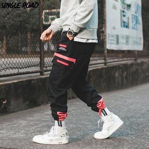 Image 1 - SingleRoad היפ הופ הרמון מכנסיים מטען גברים 2020 צד כיסי מכנסיים רצים Streetwear זכר אופנה מזדמן מכנסי טרנינג Jogger גברים