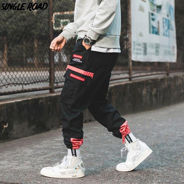SingleRoad היפ הופ הרמון מכנסיים מטען גברים 2020 צד כיסי מכנסיים רצים Streetwear זכר אופנה מזדמן מכנסי טרנינג Jogger גברים